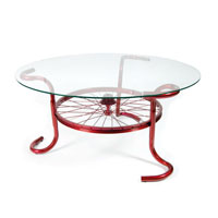 Custom Modern Furniture, custom metal coffee table with glass top made of bicycle parts, S.D. Feather Sprint Coffee Table