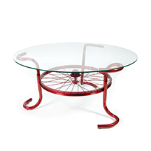 custom metal coffee table with glass top made of bicycle parts, S.D. Feather Sprint coffee table
